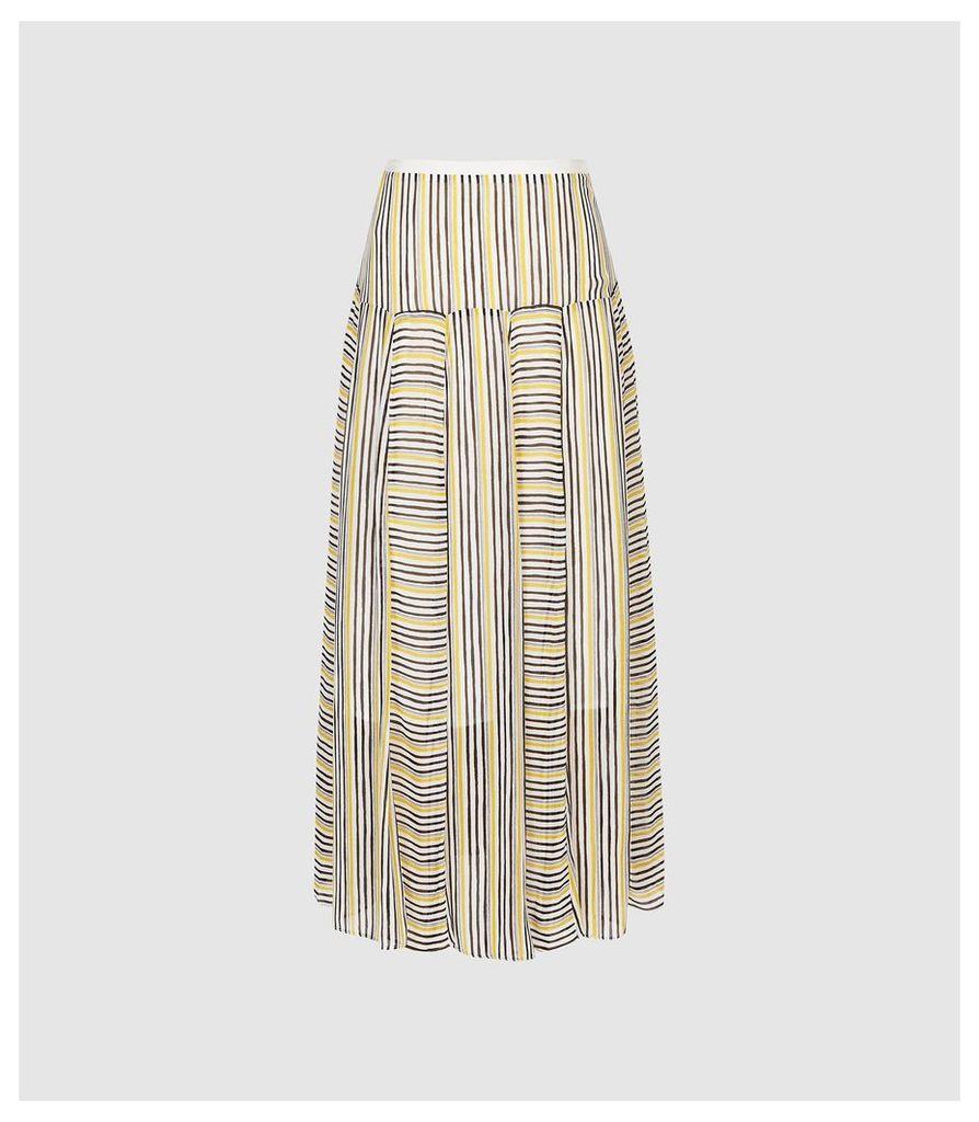 Reiss Maggie - Striped Midi Skirt in Multi, Womens, Size 14