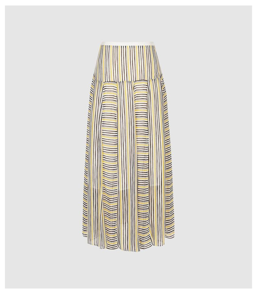 Reiss Maggie - Striped Midi Skirt in Multi, Womens, Size 14