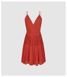 Reiss Danna - Cross Back Mini Dress in Flame, Womens, Size 14