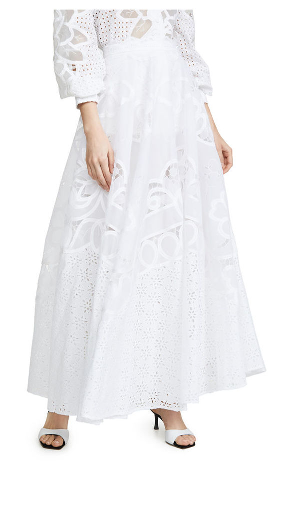 Costarellos Embroidered Laser Cut Skirt