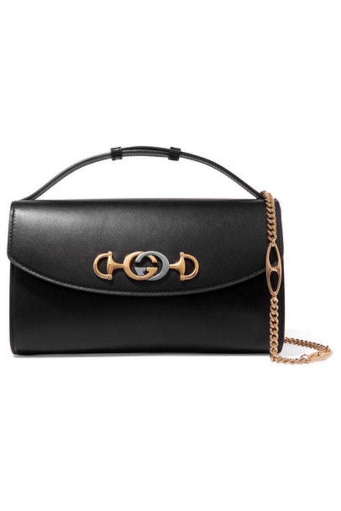 Gucci - Zumi Small Embellished Leather Shoulder Bag - Black