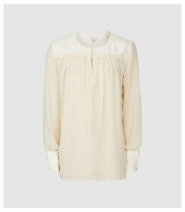 Reiss Indie - Semi Sheer Smock Blouse in Ivory, Womens, Size 14
