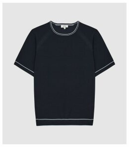 Reiss Kyle - Tipped Crew Neck Top in Navy, Mens, Size XXL