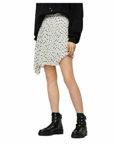 Allsaints Lea Asymmetric Pleated Polka Dot Skirt
