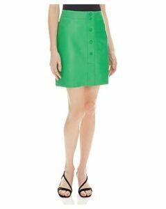 Sandro Louna Snap-Front Leather Skirt