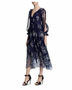 Marchesa Notte Embroidered Chiffon Midi Dress