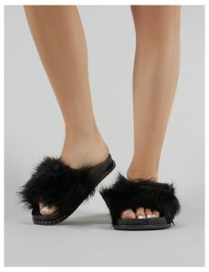 Alma Slider  Faux Fur, Black