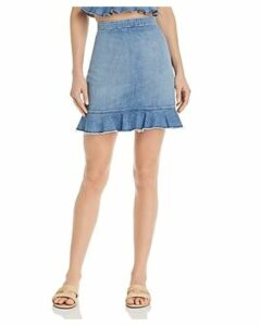 Show Me Your MuMu Kai Denim Flounce-Hem Skirt in Stream
