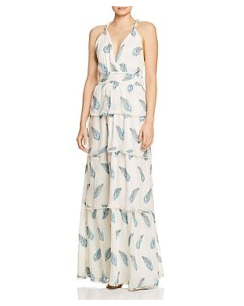 Ramy Brook Toleda Leaf-Print Maxi Dress