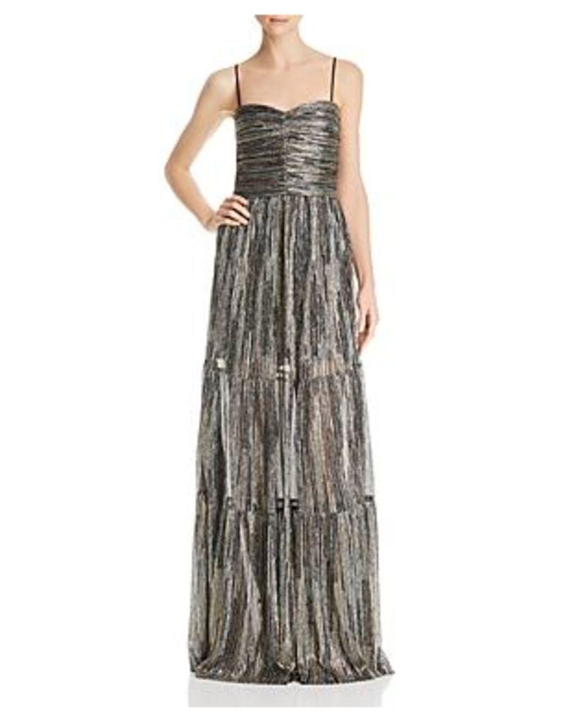 Rebecca Vallance Bellagio Metallic Tiered Gown