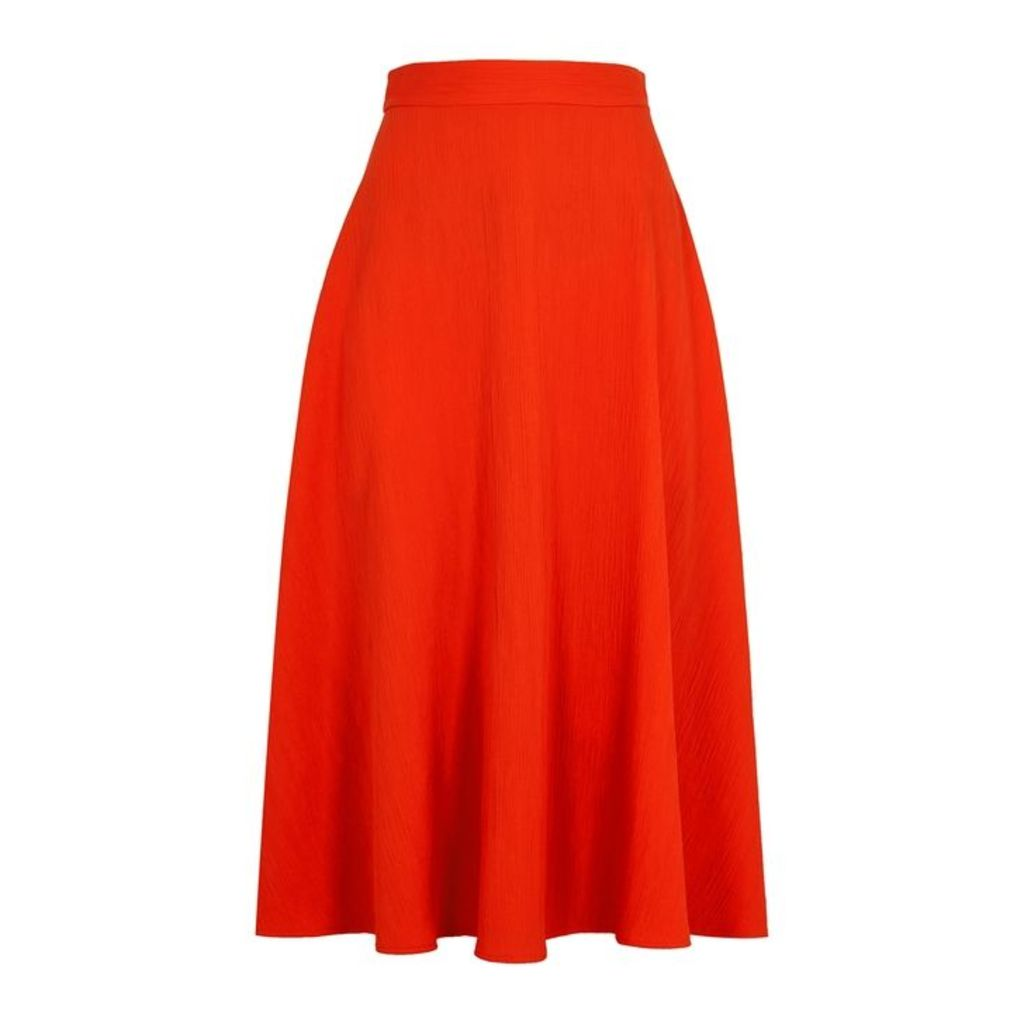 Paule Ka Coral Plissé Midi Skirt