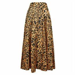 Zimmermann Veneto Leopard-print Linen Midi Skirt