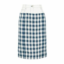 SJYP Checked Linen And Stretch-denim Midi Skirt