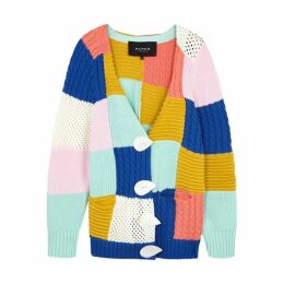 PAPER LONDON Patchwork Knitted Cotton Cardigan