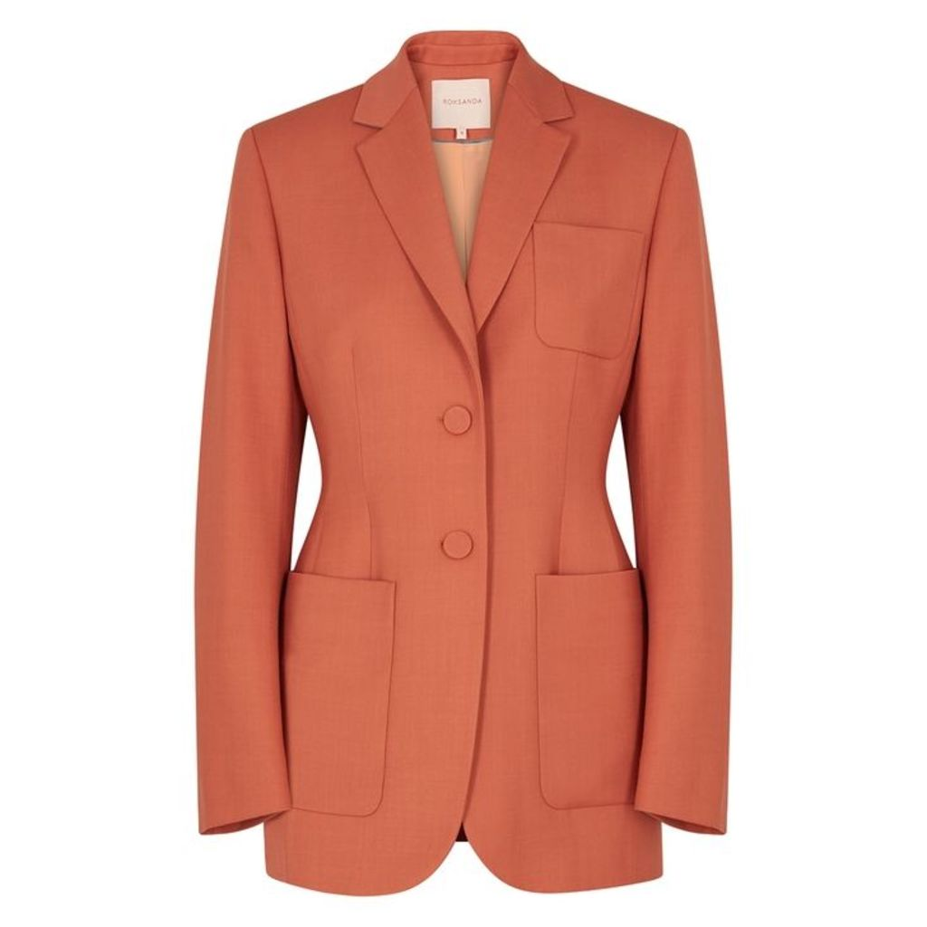 Roksanda Sienna Burnt Orange Twill Wool-blend Blazer