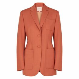 Roksanda Sienna Burnt Orange Twill Wool-blend Blazer