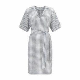 Jigsaw Gingham Linen Belted Dress