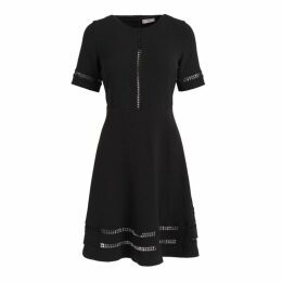 WtR Eloise Black A-line Lattice-trimmed Dress