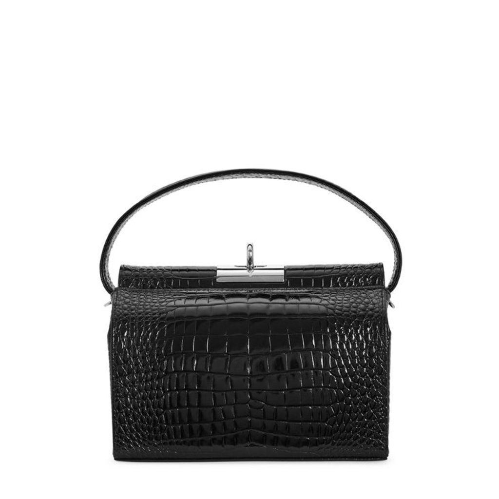 GU DE Milky Black Crocodile-effect Top-handle Bag