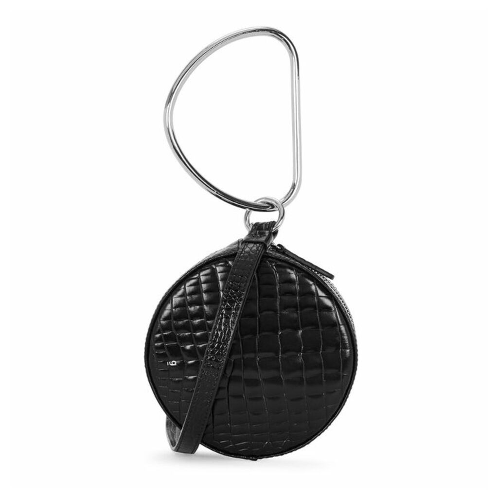 GU DE Circle Black Crocodile-effect Clutch