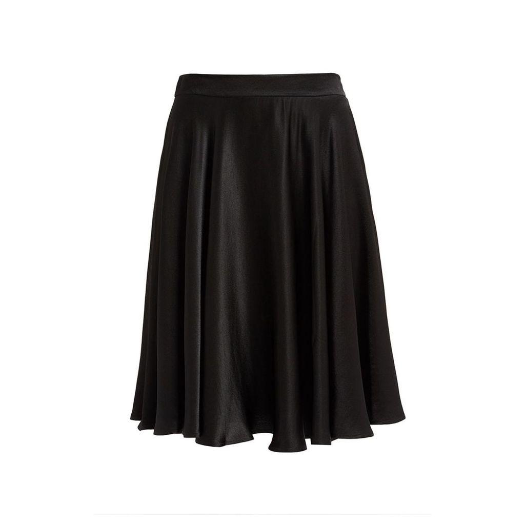 WtR - Journey Black Satin Midi Skirt