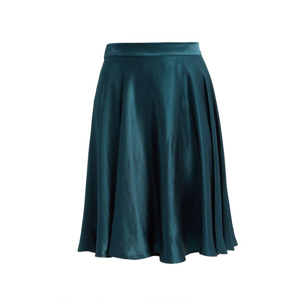 WtR - Journey Green Satin Midi Skirt