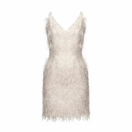 UNDRESS - Ferly Beige Metallic Faux Feather Mini Dress