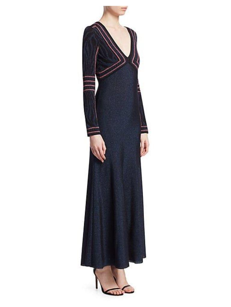 Lurex Jacquard Long Sleeve Gown