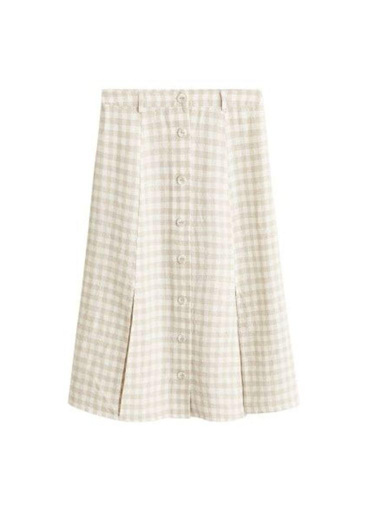 Checked linen skirt