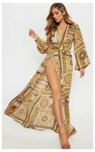 Multi Paisley V Neck Split Maxi Dress, Multi