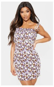 Lilac Floral Printed Ruched Bodice Bodycon Dress, Purple