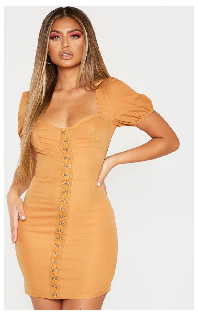 Camel Puff Sleeve Bodycon Dress, Camel
