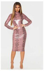 Rose Snake Print PU Long Sleeve Midi Dress, Pink