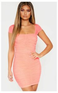 Coral Ruched Mesh Bodycon Dress, Orange