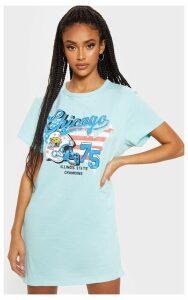 Teal Chicago Slogan Oversized Washed T Shirt Dress, Blue