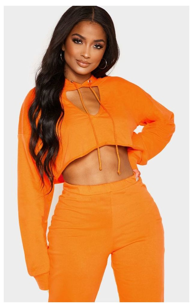 Shape Bright Orange Crop Open Neck Hoodie, Bright Orange