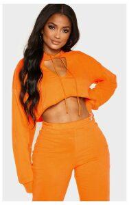 Shape Bright Orange Crop Open Neck Hoodie, Bright Orange