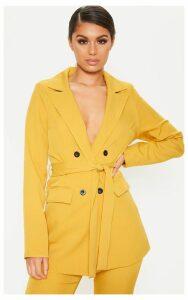 Mustard Belted Long Line Woven Blazer, Mustard