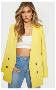 Yellow Oversized Button Detail Woven Blazer, Yellow