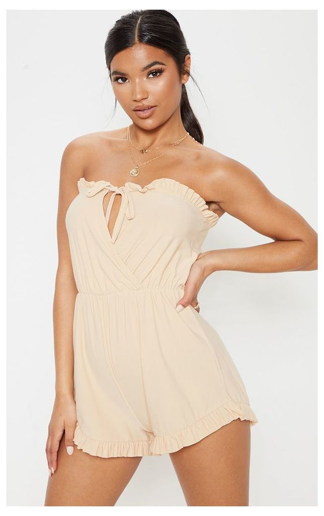 Stone Bandeau Frill Detail Tie Front Playsuit, White