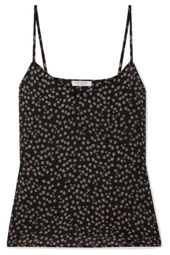 Equipment - Layla Floral-print Crepe De Chine Camisole - Black