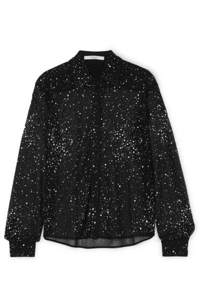 Givenchy - Crystal-embellished Lace Shirt - Black