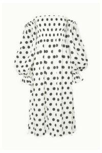 Sleeper - Atlanta Off-the-shoulder Shirred Polka-dot Linen Midi Dress - White