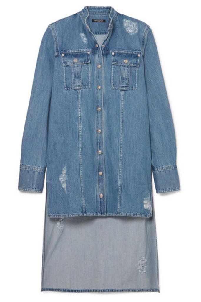 Balmain - Asymmetric Denim Shirt - Blue