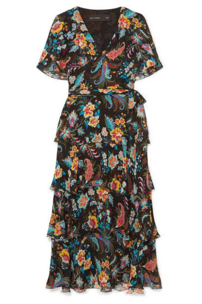 Etro - Ruffled Floral-print Silk-chiffon Wrap-effect Dress - Black