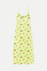 BERNADETTE - Hailey Floral-print Stretch-silk Satin Midi Dress - Chartreuse