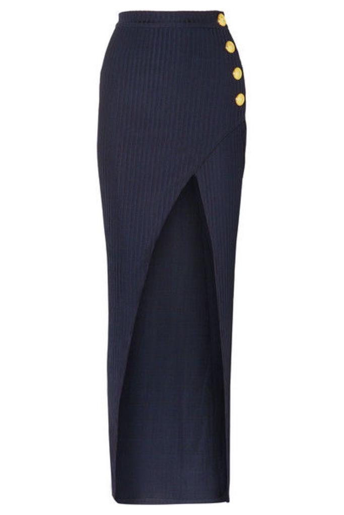 Balmain - Wrap-effect Button-embellished Ribbed Jersey Skirt - Navy