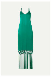 Rachel Zoe - Chantelle Macramé-trimmed Satin Maxi Dress - Jade