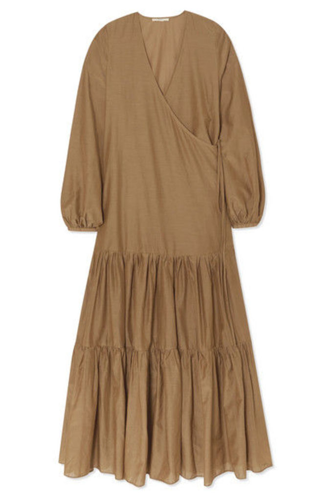 MATIN - Tiered Silk And Cotton-blend Voile Wrap Maxi Dress - Taupe