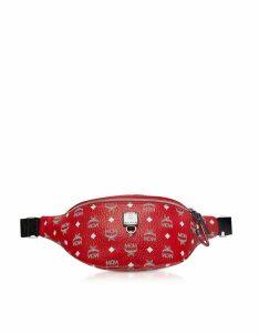 MCM Designer Handbags, Viva Red Fursten Medium Belt Bag w/White Logo Visetos